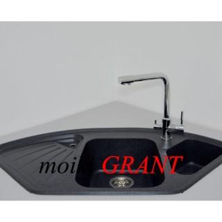 Гранитная мойка Grant Elite черная угловая