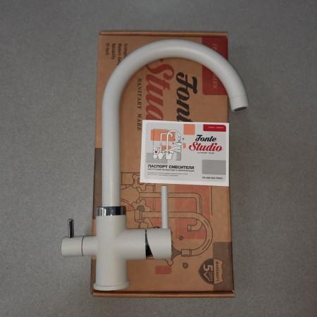 Смеситель Fonte Studio с краном питьевой воды белый