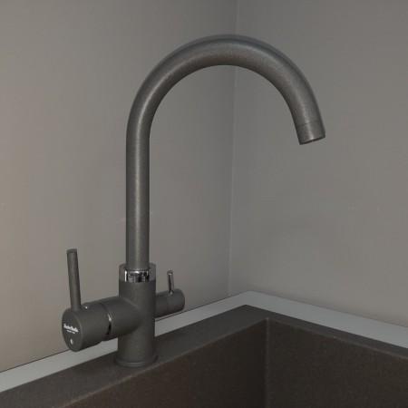 Смеситель Fonte Studio с краном питьевой воды серый